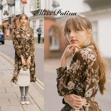 Flower Patterns Long Sleeves Medium Shirt Dresses