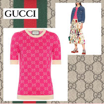 GUCCI Crew Neck Cotton Medium Short Sleeves Sweaters