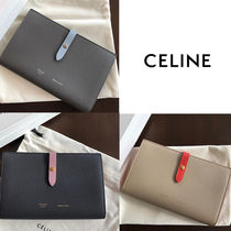 CELINE Strap Unisex Calfskin Plain Long Wallets