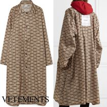 VETEMENTS Monogram Unisex Street Style Long Oversized Outerwear