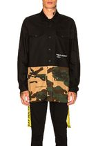 Off-White Camouflage Street Style Bi-color Long Sleeves Cotton Shirts
