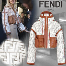 FENDI Short Monogram Blended Fabrics Leather Biker Jackets