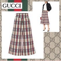 GUCCI Other Check Patterns Tweed Medium Elegant Style