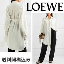 LOEWE Blended Fabrics Long Sleeves Plain Oversized Elegant Style