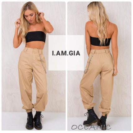 Casual Style Chain Plain Long Pants