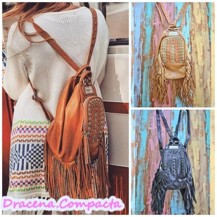 Casual Style Tassel Studded 2WAY Leather Fringes Backpacks