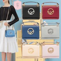 FENDI KAN I 2WAY Chain Plain Leather Elegant Style Shoulder Bags