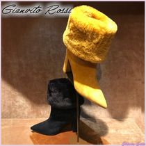 Gianvito Rossi Suede Plain Block Heels Elegant Style Ankle & Booties Boots