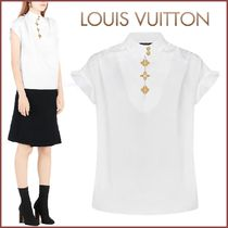 Louis Vuitton Monogram Blended Fabrics Plain Cotton Medium Short Sleeves