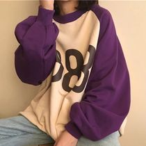 Cable Knit Unisex Street Style U-Neck Long Sleeves Cotton