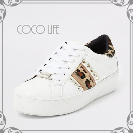 Leopard Patterns Round Toe Lace-up Casual Style Faux Fur