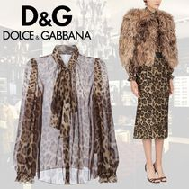 Dolce & Gabbana Leopard Patterns Silk Long Sleeves Shirts & Blouses