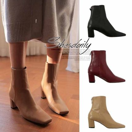 Ankle & Booties Square Toe Casual Style Plain Block Heels