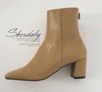 Ankle & Booties Square Toe Casual Style Plain Block Heels 10