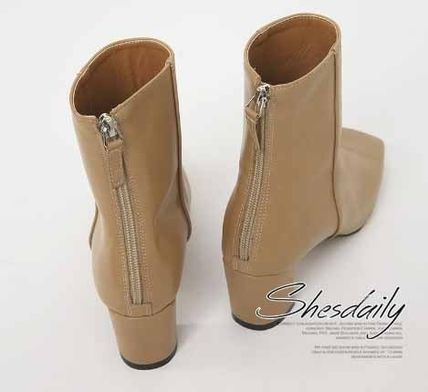 Ankle & Booties Square Toe Casual Style Plain Block Heels 11