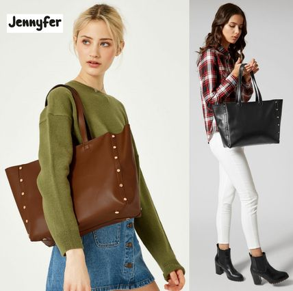 Casual Style Faux Fur Studded A4 Plain Totes