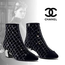 CHANEL Other Check Patterns Leather Block Heels