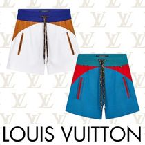 Louis Vuitton Casual Style Bi-color Plain Cotton Denim & Cotton Shorts