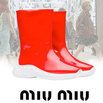 MiuMiu Casual Style Faux Fur Plain Ankle & Booties Boots