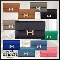 HERMES CONSTANCE Leather Long Wallets