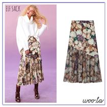 ELF SACK Flower Patterns Blended Fabrics Pleated Skirts Street Style