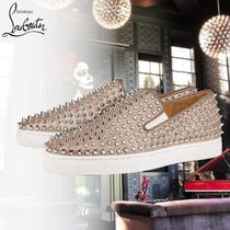 Christian Louboutin Studded Plain Leather Loafers & Slip-ons