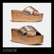 Coach Monogram Open Toe Casual Style Leather