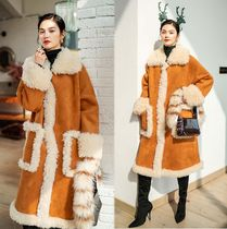 Plain Long Fur Leather Jackets Oversized
