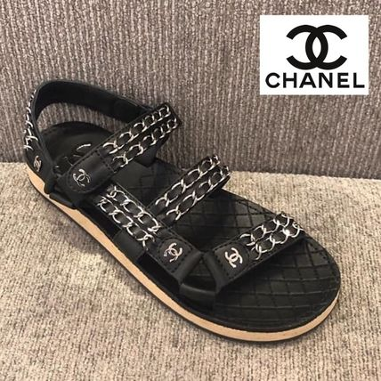 CHANEL More Sandals Casual Style Chain Plain Leather Sandals