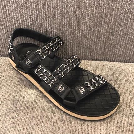 CHANEL More Sandals Casual Style Chain Plain Leather Sandals 2