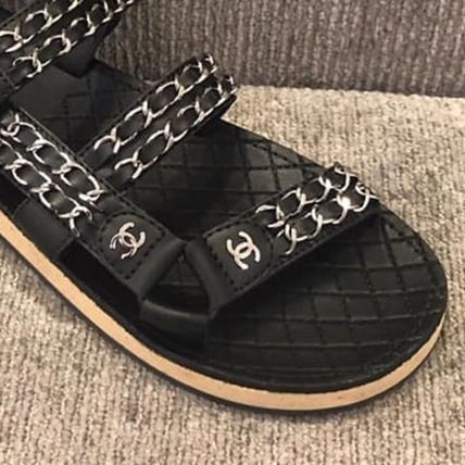 CHANEL More Sandals Casual Style Chain Plain Leather Sandals 3