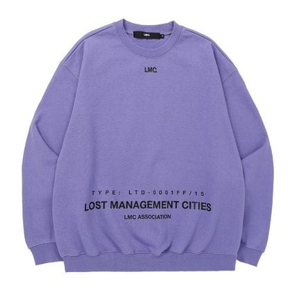 Sweatshirts Unisex Street Style Long Sleeves Plain Cotton Oversized 8