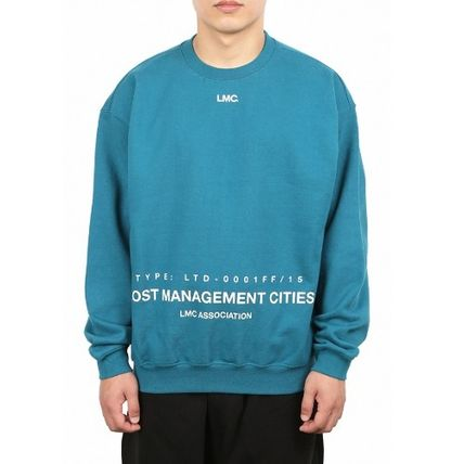 Sweatshirts Unisex Street Style Long Sleeves Plain Cotton Oversized 16