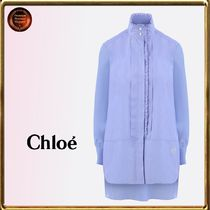 Chloe Stripes Casual Style Long Sleeves Cotton Shirts & Blouses