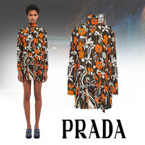 PRADA Short Flower Patterns Flared Long Sleeves Home Party Ideas