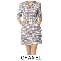 CHANEL Other Check Patterns Tweed Elegant Style Skirts