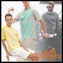 HERMES Crew Neck Stripes Street Style Cotton Short Sleeves