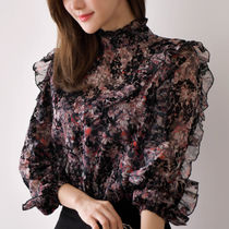 Flower Patterns Casual Style Chiffon Long Sleeves Medium