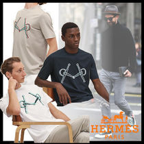 HERMES Crew Neck Street Style Plain Cotton Short Sleeves