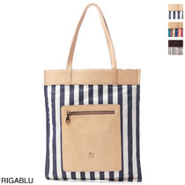 IL BISONTE Casual Style Canvas A4 Totes