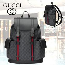 GUCCI Stripes Monogram Blended Fabrics Street Style A4 Leather