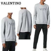 VALENTINO Crew Neck Pullovers Unisex Long Sleeves Plain Cotton