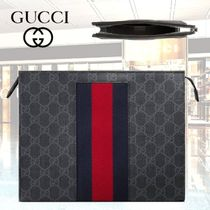 GUCCI Stripes Monogram Blended Fabrics Street Style Bag in Bag