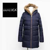 DUVETICA carys Fur Street Style Plain Long Midi Down Jackets