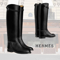HERMES Plain Toe Casual Style Studded Plain Leather Flat Boots