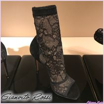 Gianvito Rossi Flower Patterns Open Toe Pin Heels Party Style