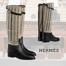 HERMES Plain Toe Casual Style Chain Leather Block Heels Flat Boots