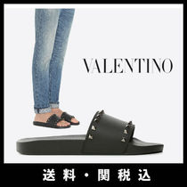 VALENTINO Studded Plain Leather Loafers & Slip-ons