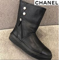 CHANEL Round Toe Blended Fabrics Plain Leather Elegant Style