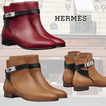 HERMES Plain Toe Bi-color Plain Leather Elegant Style